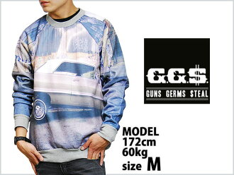 GG$ ($TEAL) ALL OVER SUBLIMATION PRINT CREW NECK IMPALA size es Impala photo sweat trainer blue pink gray men's male Blue Ash LOWRIDER lowrider WESTCORST HIPHOP wessi 90's HIPHOP like to recommend!
