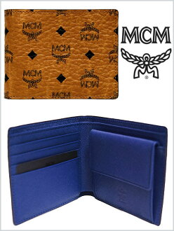 MCM WALLET BROWN BLUE钱包棕色蓝色茶青对开钱包古典高名牌德国硬币袋有本皮革MENS人LADIES女士男性女性男女两用高名牌钱包小东西配饰