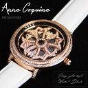 (公式)アンコキーヌ Anne Coquine 腕時計 メンズ 時計 クロスゴールドベゼル ホワイト×クロ 1201-0201 ジュエルウ…