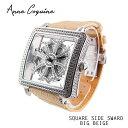 (公式) アンコキーヌ AnneCoquine 腕時計 メンズ 時計 スクエアースケルトン サイドスワロ ベルト ベージュ 1126-0120…