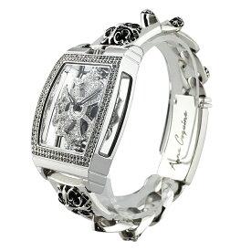 (公式)アンコキーヌ Anne Coquine 腕時計 時計 スクエア スケルトン 925 SILVER チェーン S M Lサイズ 1121-0114 シルバー925 スクエア スワロフスキー ユニセックス ゴージャス ブランド 高級 ペア ぐるぐる くるくる グルグル 回る プレゼント ギフト