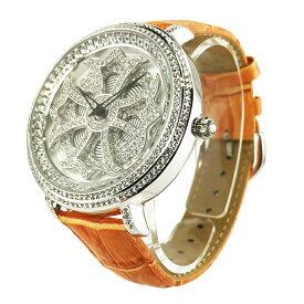 (公式)アンコキーヌ Anne Coquine 腕時計 時計 クロス シルバー ベゼル ホワイト オレンジ 1101-0111 スワロフスキー 芸能人 スポーツ選手 愛用 ユニセックス ゴージャス ウォッチ ブランド 高級 ペア ぐるぐる くるくる 回る プレゼント ギフト