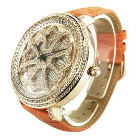 (公式)アンコキーヌ Anne Coquine 腕時計 時計 クロス ゴールド ベゼル ホワイト オレンジ 1201-0111 スワロフスキー 芸能人 スポーツ選手 愛用 ユニセックス ゴージャス ウォッチ ブランド 高級 ペア ぐるぐる くるくる 回る プレゼント ギフト