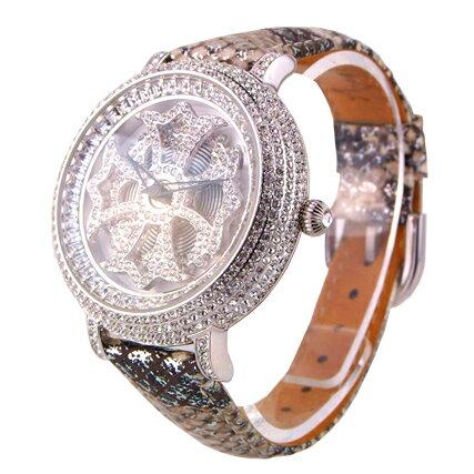 アンコキーヌ ぐるぐる時計 ミニクロス【シルバー】:ベルト【パイソン】/本体【ホワイト】 1106-0122