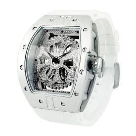 【公式】アンコキーヌ Anne Coquine 腕時計 メンズ 時計 ビッグ レクタングル クロス 自動巻き<ベゼル シルバー><クロス クリア><ベルト ホワイト> 1142-0101 ウォッチ ブランド 高級 スワロフスキー ぐるぐる くるくる グルグル クルクル 回る プレゼント ギフト