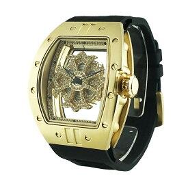 (公式)アンコキーヌ Anne Coquine 腕時計 メンズ 時計 ビッグ レクタングル スケルトン クロス<ゴールドベゼル クリアスワロ ブラックベルト> 1225-0102 スワロフスキー ウォッチ ブランド 高級 ぐるぐる くるくる グルグル クルクル 回る プレゼント ギフト