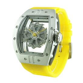 (公式)アンコキーヌ Anne Coquine 腕時計 メンズ 時計 ビッグ レクタングル スケルトン クロス<シルバーベゼル クリアスワロ イエローベルト> 1125-0106 スワロフスキー ウォッチ ブランド 高級 ぐるぐる くるくる グルグル クルクル 回る プレゼント ギフト