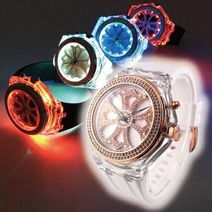 【公式】Anne Coquine アンコキーヌ ぐるぐる時計 シャイニングクロス ゴールド【本体:シロ】【ベルト:シロ】 1228-0101 光る時計 ぐるぐる グルグル スワロフスキー ぐるぐる時計 腕時計 ウォッチ ブランド くるくる クルクル 回る ゴージャス プレゼント ギフト