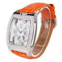 (公式)アンコキーヌ Anne Coquine 腕時計 時計 スクエアースケルトンクロス【シルバー】 ベルト【ライトオレンジ】 …