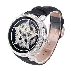 (公式)アンコキーヌ Anne Coquine 腕時計 メンズ 時計 シルバー スター ブラック 1113-0202 スワロフスキー スター ユニセックス ゴージャス ウォッチ ブランド 高級 ペア ぐるぐる くるくる グルグル クルクル 回る プレゼント ギフト