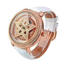 (公式)アンコキーヌ Anne Coquine 腕時計 メンズ 時計 ゴールド スター 本体 ホワイト ベルト ホワイト 1213-0101 スワロフスキー スター ユニセックス ゴージャス ウォッチ ブランド 高級 ペア ぐるぐる くるくる グルグル クルクル 回る プレゼント ギフト