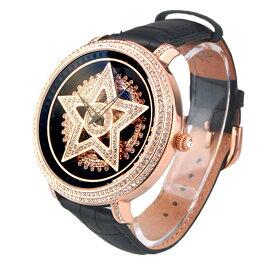 (公式)アンコキーヌ Anne Coquine 腕時計 メンズ 時計 ゴールド スター 本体 ブラック ベルト ブラック 1213-0202 スワロフスキー スター ユニセックス ゴージャス ウォッチ ブランド 高級 ペア ぐるぐる くるくる グルグル クルクル 回る プレゼント ギフト