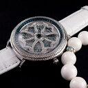 【公式】アンコキーヌ Anne Coquine 腕時計 レディース メンズ 時計 Woo'sコラボpart2 パワーストーンブレスレット付 クロス 1101-1001 ジュエルウォッチ 革ベルト ブランド 高級 スワロフスキー ぐるぐる くるくる 回る ゴージャス プレゼント ギフト