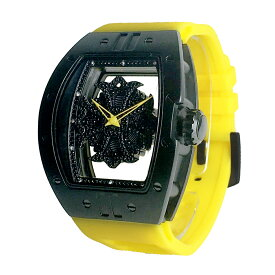 (公式)アンコキーヌ Anne Coquine 腕時計 メンズ 時計 ビッグ レクタングル スケルトン クロス<ブラックベゼル ブラックスワロ イエローベルト> 1325-0206 スワロフスキー ウォッチ ブランド 高級 ぐるぐる くるくる グルグル クルクル 回る プレゼント ギフト