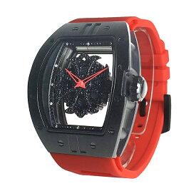 (公式)アンコキーヌ Anne Coquine 腕時計 メンズ 時計 ビッグ レクタングル スケルトン クロス<ブラックベゼル ブラックスワロ レッドベルト> 1325-0204 スワロフスキー ウォッチ ブランド 高級 ぐるぐる くるくる グルグル クルクル 回る プレゼント ギフト