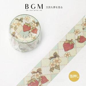 BGM マスキングテープ Special メルヘン イチゴ柄 30mm 3cm 3センチ幅 レトロ いちご グリーン BM-SPFT006 ビージーエム マステ bgm-bm-spft006