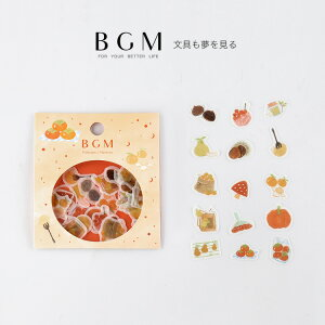BGM フレークシール マスキングテープ素材 果物 45枚入り 秋 フルーツ オレンジ色 BS-FF018 ビージーエム flake1910