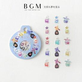 BGM フレークシール マスキングテープ素材 箔押し 15種類x各3枚 瓶・リース BS-FG061 ビージーエム バラシール
