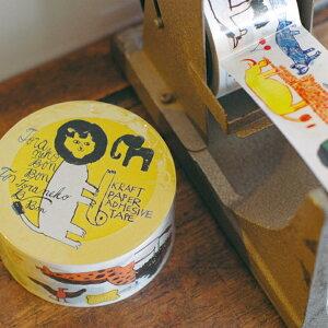 倉敷意匠 トラネコボンボン クラフト粘着テープ Africa 動物 アフリカ クラフトテープ イラスト 紙テープ アニマル 倉敷意匠計画室 KS-ST004-99204-02