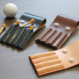 ナチュラルレザー ゴルフティーホルダー(4本) ハンドメイド ゴルファー 革製 DAN-G1