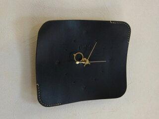 ハンドメイドレザークロック革時計*ブラック