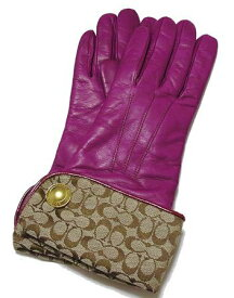 COACH/コーチ シグネチャーカーフ手袋 6.5号 F80408GRAPE【ラッピング無料】【楽ギフ_包装】【10P11Mar16】【05P03Dec16】