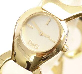 D&G TIME Dolce & Gabbana FLAT HEAD Lady's SS gold belt watch DW0171