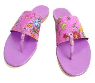 GUCCI/古馳花花紋涼鞋粉紅×紫