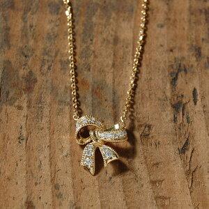 【Ribbon】 ネックレス レディース リボン ダイヤモンド ペンダント k18 18金 18k k10 10金 10k ゴールド ピンクゴールド ホワイトゴールド 女性 大人 ダイアモンド 地金 上品 かわいい 華奢 プレゼント ギフト