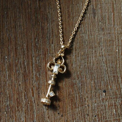 バケットカット ダイヤモンド キー ネックレス 『Key Necklace』 ポイント10倍 ネックレス レディース キーネックレス 鍵 k18 18金 18k k10 10金 10k ゴールド ペンダント ダイアモンド pendant 大人 女性 送料無料 ギフト プレゼント