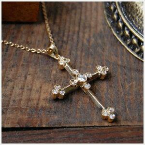 K18 ゴールド ダイヤモンド クロス ネックレス 『Albert』