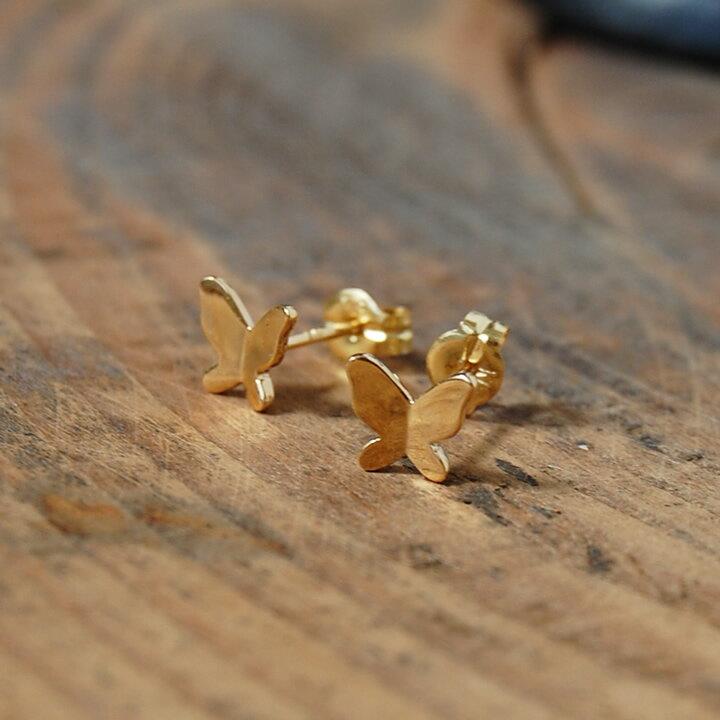 バタフライ ピアス 『Butterfly』 ピアス k10 10k 10金 k18 18k 18金 ゴールドピアス バタフライピアス 地金 レディース ゴールド earrings 蝶 チョウ シンプル 大人 女性 上品 かわいい 送料無料 ギフト プレゼント