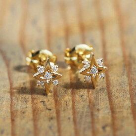 ダイヤモンド スター ピアス 『Stella』 ピアス レディース k18 18金 18k k10 10金 10k ゴールド ダイヤピアス ダイアモンド earrings 星 大人 女性 上品 華奢 繊細 かわいい 送料無料 ギフト プレゼント