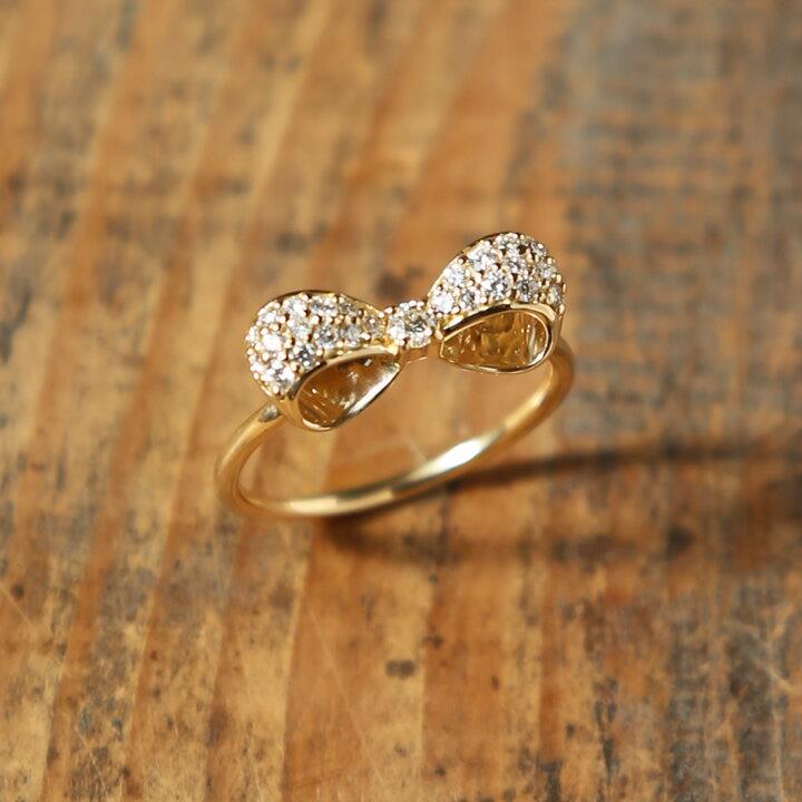K18 パヴェ ダイヤモンド リボン リング 「Kelly Ring」