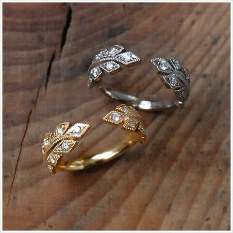 K18 ゴールド ダイヤモンド リーフ フォークリング 『Leaf Fork Ring』レディース 指輪 ring 18k 18金 ダイアモンド 大人 女性 上品 送料無料 プレゼント ギフト 卒業式 入学式