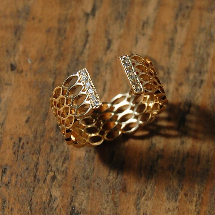 K18 ゴールド ダイヤモンド フォークリング 『PAMELAH』レディース 指輪 ring 18k 18金 ダイアモンド 透かし 繊細 レース 大人 女性 上品 送料無料 プレゼント ギフト 卒業式 入学式