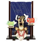 No.504-92五月人形ミニサイズ兜飾りちりめん鯉のぼり付き