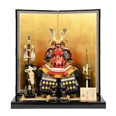 五月人形全身を守る鎧平飾り7号赤白縅透かし鍬形鎧