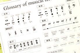 インテリアに映える「音楽用語ポスター」 A2サイズ 室内用 インテリア 知育 モノクロ ピアノ ヴァイオリン フルート 吹奏楽 オーケストラ