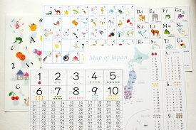 人気の7点 知育ポスターセット♪あいうえお アルファベット すうじ 九九表 日本地図 白地図 A4 送料無料