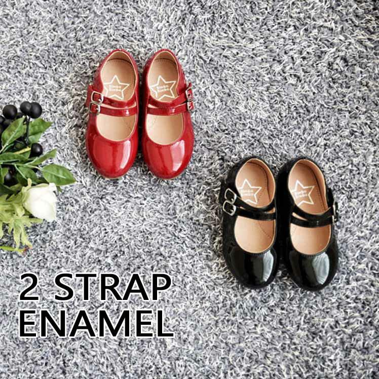 【SOON 春 新作】2buckle エナメル 靴! 韓国子供 韓国 子供 キッズ ジュニア 女の子 13cm 14cm 15cm 16cm 17cm 18cm 19cm 20cm 21cm 靴