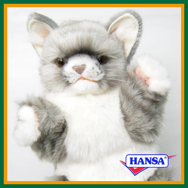 HANSA ハンサ ぬいぐるみハンドパペット 7163 ネコ グレー 30 CAT GRAY 人形劇 ねこ 猫