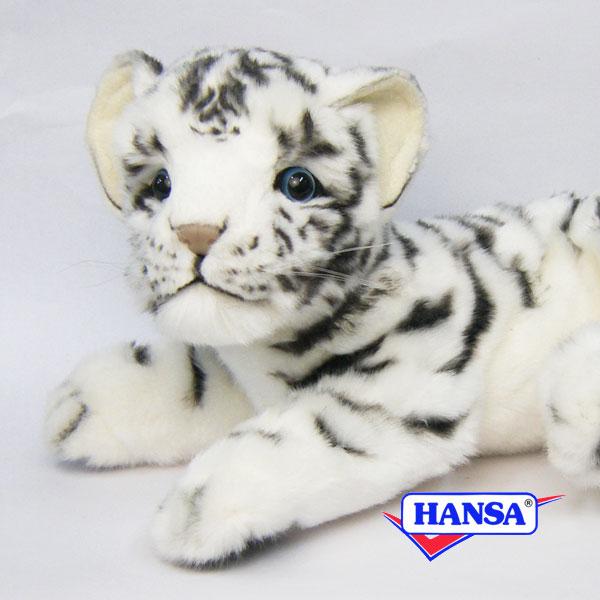 HANSA ハンサ ぬいぐるみ5337 ホワイトタイガーの仔 WHITE TIGER CUB LAYING