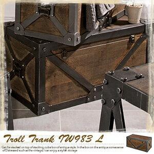 アンティークトランク L Troll トロール IW-983 トランク テーブル/トランク 収納/収納タンス/収納棚 北欧/マルチボックス/レトロ/アンティーク風 トランク/アンティーク 雑貨