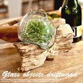 ガラスオブジェ流木(インテリア置物ガラスフラワーベースフェイクグリーンにもぴったり)