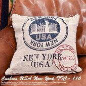 クッション45×45USAニューヨーク3色中綿付TTC110国旗クッション