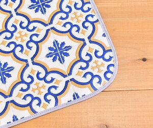 キッチンマット撥水モロッコタイル59cm×270cmブルー日本製滑りにくい抗菌防カビロングマット北欧マットサンプル無料