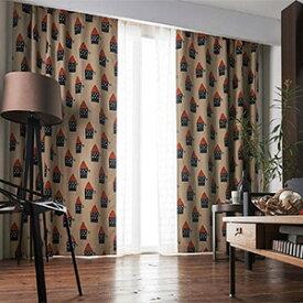 在庫限り マタノアツコ 遮光カーテン ちいさな家 巾100×丈178cm(1枚入) BA7104 またのあつこ カーテン 遮光
