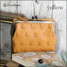 【Cuirdeson】キュートな型押しネコのイタリアンレザーがま口折財布/キュイールデソン/ネコねこ猫レディース折財布レディース本革革シルエットコンパクト母の日