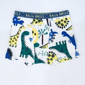 BAJA SMILE(バハスマイル) 2160407 手描き恐竜柄 XS(95-105)・S(105-115)・M(115-125)・L(125-135)・XL(135-145) 安心安全な綿100%フライス素材の男の子パンツ